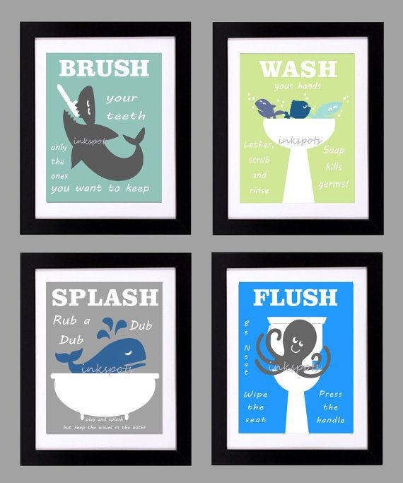 Kids Bath Art  Kids Bath Decor  Kids Nautical by inkspotsgallery, $45.00