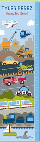 On The Go Personalized Growth Chart by Petite Lemon Prints. Buzz. Beep. Zoom. Let the buzz and zoom of their favorite cars, trucks and planes come to life with our transportation growth chart. Capture your little one's growth while his imagination takes flight!