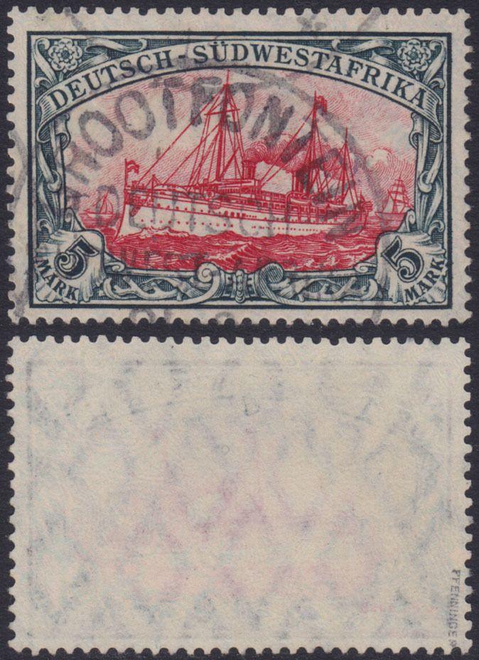 KOLONIE DEUTSCH-SÜDWESTAFRIKA 5 Mk Kaiseryacht 1906 Mi 32Aa geprüft LUXUS 370€+