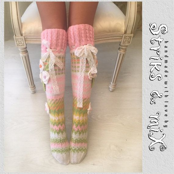 Knit socks with flower knee woman socks house by StriksAndMix