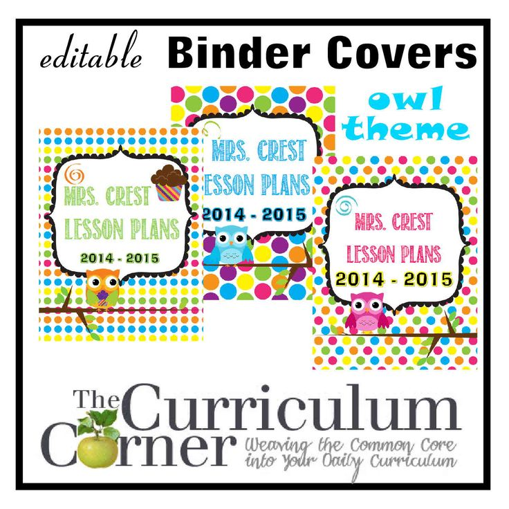 Free owl themed editable binder covers for teachers & students from The Curriculum Corner
