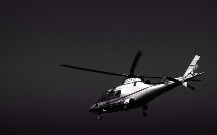 Download wallpapers Eurocopter EC135, 4k, monochrome, civil aviation, flight, Airbus H135, Airbus