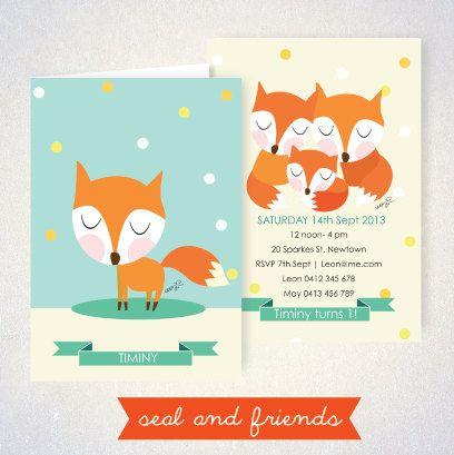 CARD  Baby Fox  DIY Printable Baby Invitation by SealAndFriends, $6.00