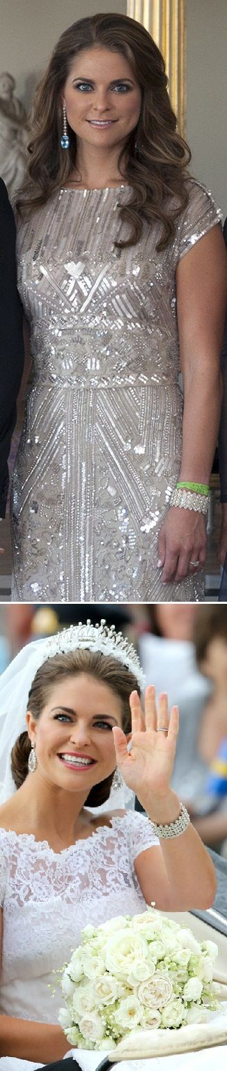 Princess Madeleine wore the grand diamond bracelet at both events during her wedding 2013. Pre wedding party and the wedding. Aquamarine???