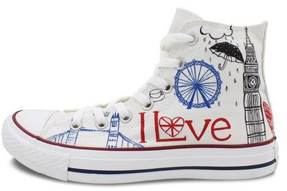 Converse All Star London Landmarks Hand painted High Top Unique