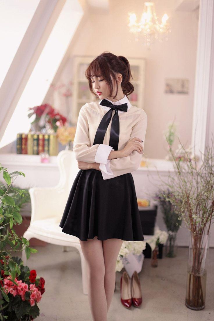 Japanese Fashion - Single color waist A word chiffon skirt