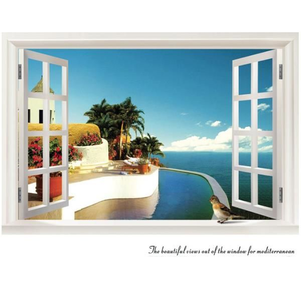 Mediterranean Sea and Tree Outside the Window Wall Stickershttp://www.beddinginn.com/product/Mediterranean-Sea-And-Tree-Outside-The-Window-Wall-Stickers-10905113.html