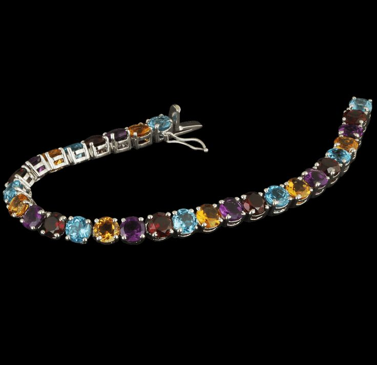 Silver Bracelet covered with multi-colored stones available at our online store www.krishnapearls.com