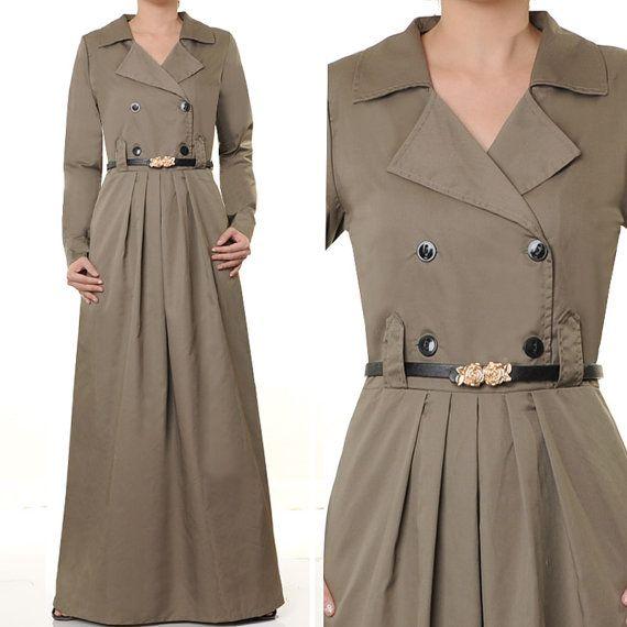 2410 Taupe Cotton Tailored Collar Islamic Abaya Long by MissMode21, $32.00
