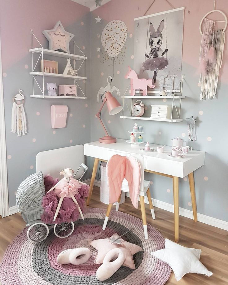 lovely pink and grey decor for kids bedroom