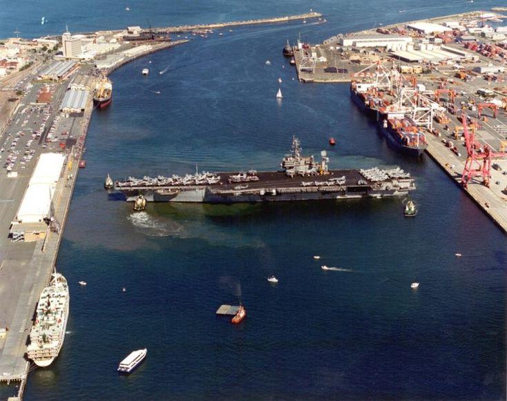 USS Constellation CV-64 turning around in the harbour at Fremantle, Australia.