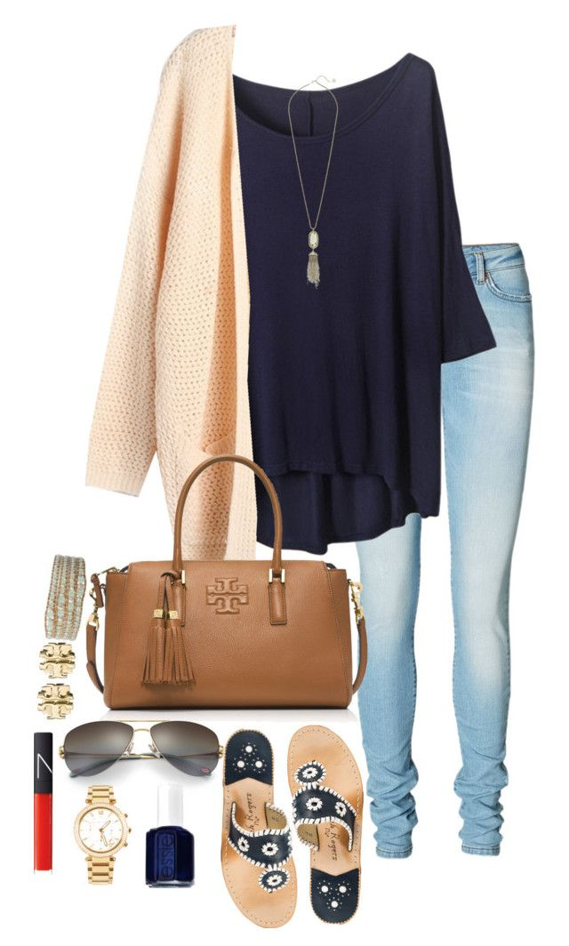 """Obsessed with this bag"" by sydney1192 ❤ liked on Polyvore featuring Vero Moda, Tory Burch, Jack Rogers, Kendra Scott, Chan Luu, Tiffany & Co., Essie, Michael Kors and NARS Cosmetics"