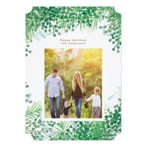 Green Winter Berries Christmas Holiday Photo Card