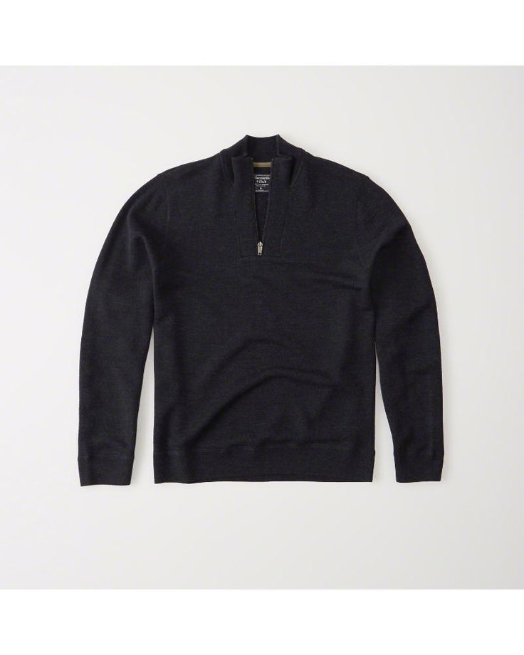 A&F Men's Merino-Blend Half-Zip Sweater in Navy Blue - Size XL