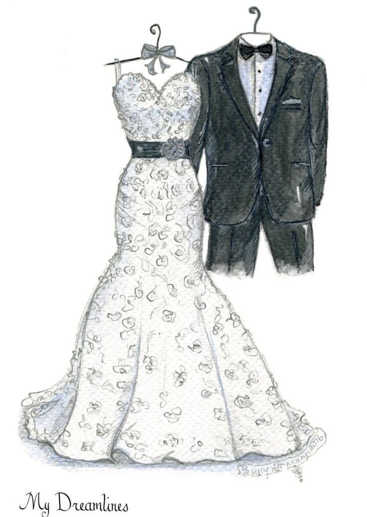 Dreamlines wedding dress sketch given as a wedding day gift to the bride, wedding gift, bridal shower gift and one year anniversary gift. www.mydreamlines.com #weddinggift #bridalshowergift #anniversarygift #weddinggiftfromgroom