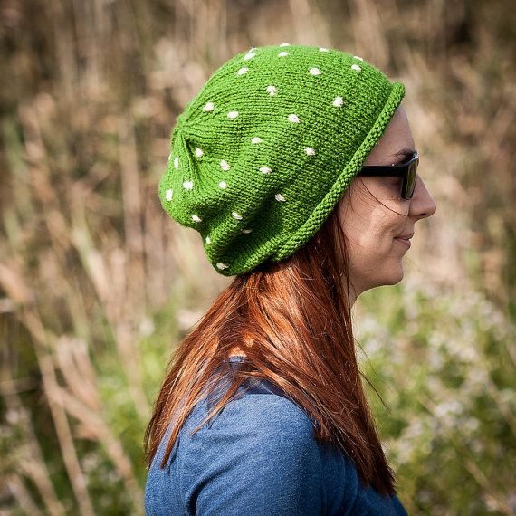 Green Polka Slouchy Beanie Hat / Fall Winter Knit by RUKAMIshop