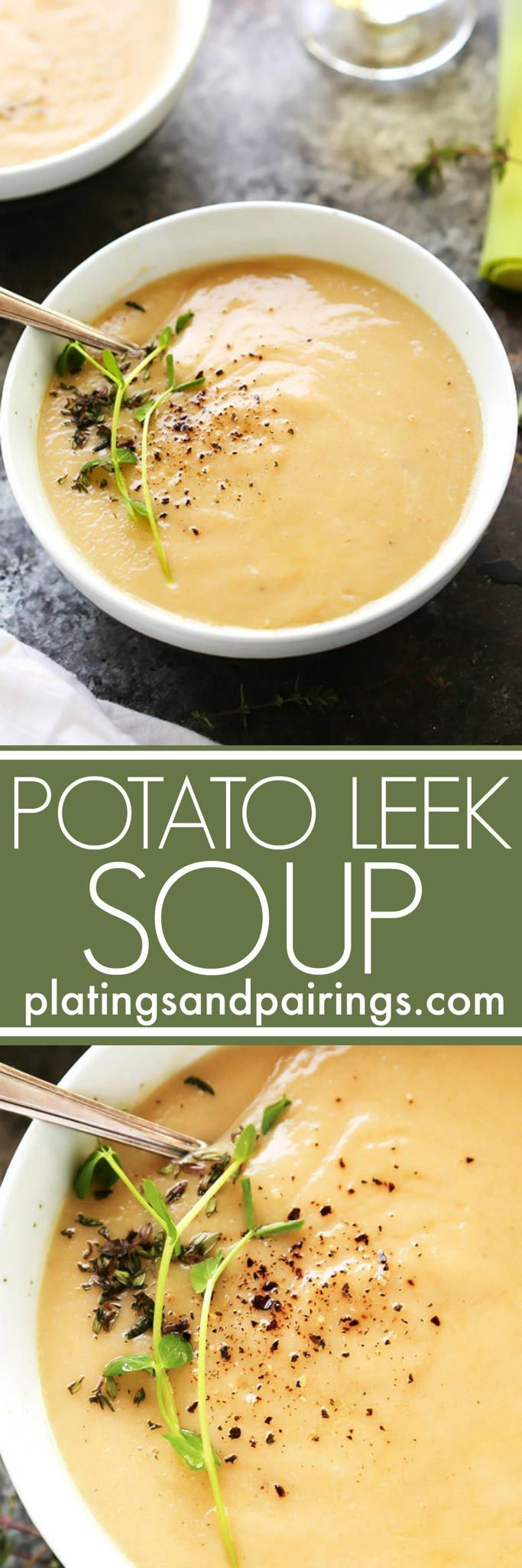 This Healthier Creamy Potato Leek Soup uses fat-free Greek yogurt instead of heavy cream and doesn't skimp on the flavor! Shallots, saffron and cayenne are all used to spice up this creamy soup. | platingsandpairings.com