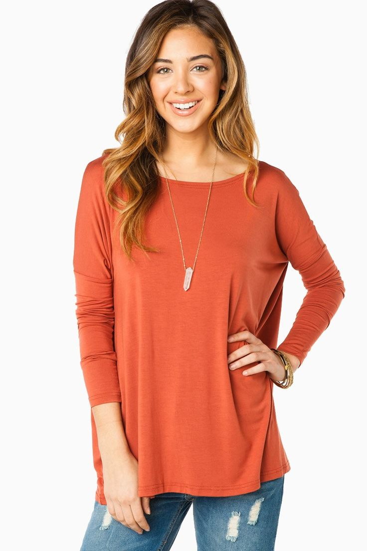 ShopSosie Style : Cozy Long Sleeve Top in Rustbrown by Piko