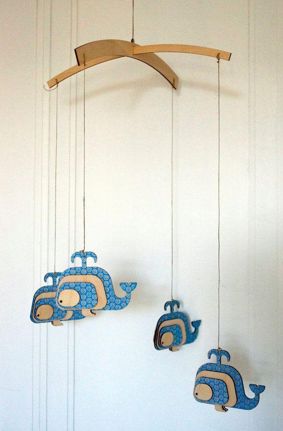 "Unique crib mobile, Lasercut wood crib mobile, unique natural nursery mobile. ""Whales"""
