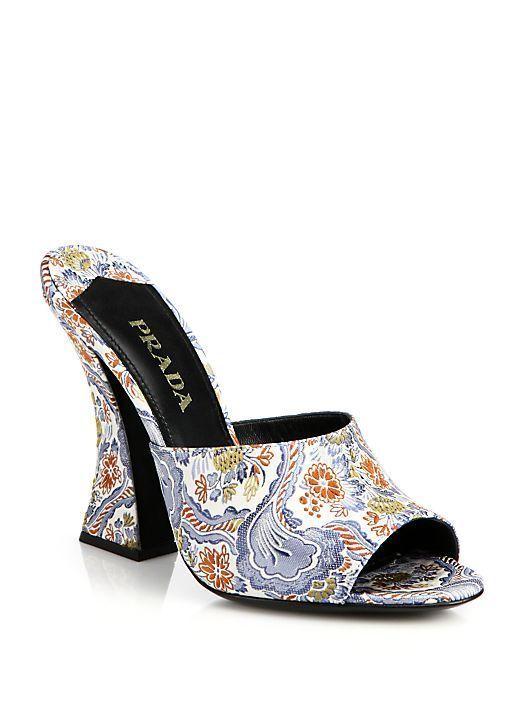 Prada Paisley-Print Silk Mule Sandals