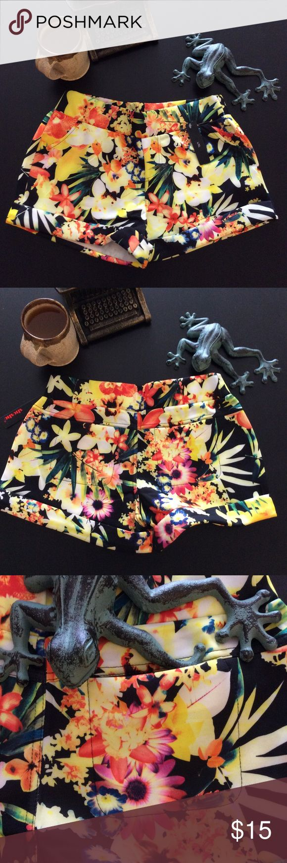 PRICE DROP! Tropical Scuba Shorts These mid-rise tropical print shorts go great with coordinating tanks for a statement look, or try a loose neutral t-shirt to balance the color palette. Features elastic waist, sewn-in cuffs, real back pockets, and faux front pockets. Main colors are black, bright yellow, pink, and orange. 95% polyester/5% spandex. Don't hesitate to ask if you have any questions! Boutique brand Shorts