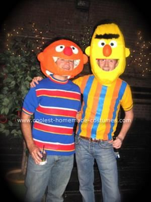 Homemade Bert and Ernie Couple Costume: After being inspired by a Homemade Bert and Ernie Couple Costume we saw posted here on your site, we decided to make Bert and Ernie costumes this year.