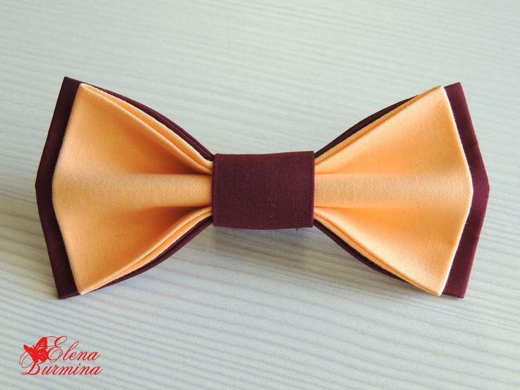 Купить Бабочка галстук бордово-оранжевая, хлопок - оранжевый, однотонный, персиковый, бордовый, бабочка