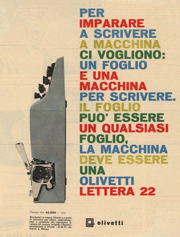 Olivetti, storia di un'impresa - Pubblicità della macchina per scrivere Lettera 22