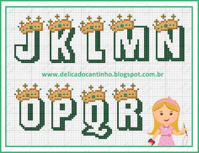 Delicado Cantinho: Gráfico Ponto Cruz Ursinho Rei + Monograma