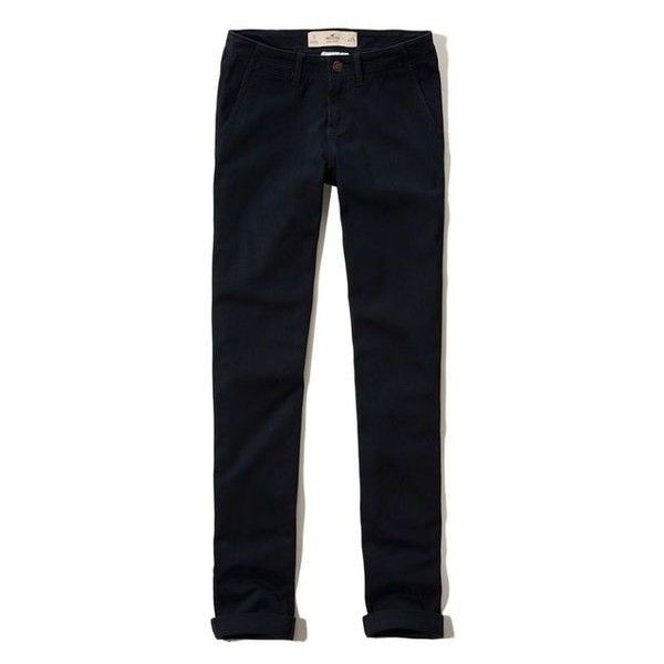 Hollister Straight Chinos ❤ liked on Polyvore featuring pants, blue chino pants, straight trousers, twill pants, chinos pants and patch pants