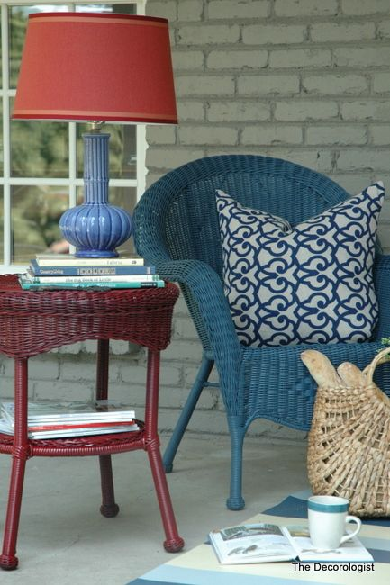 painted wicker porch furniture.  I've actually got the wicker!  Should I do this?  I'd need help with colors.  VP