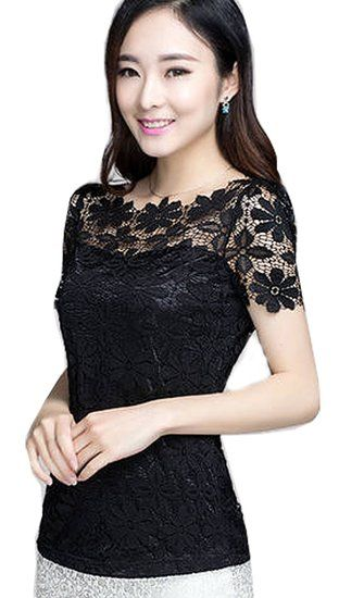 Fashion Elegant Lace Shirts Short Sleeve Women's Tops Blouses Work OL Career