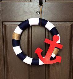 Nautical Anchor Wreath, Coastal Beach Wreath, Navy Seaside Home Decor, American Wreath, Fourth of July Wreath, Anchor Yarn Wreath