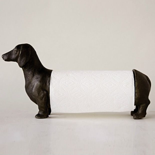 Free Standing Dachshund Paper Towel Holder | Antique Farmhouse