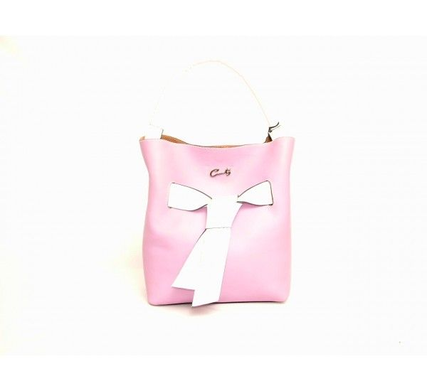 """Cats signature handbag in Lilac with white leather bow detail around the middle of the bag and white leather handle. Magnetic opening to one compartment with attached zipped leather security pouch. Made in Spain.  Approx measurements: 11"""" H x 10"""" W x 5"""" D £240.00"""