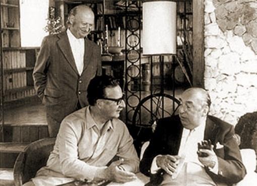 Salvador Allende, Volodia Teitelboim and  Pablo Neruda