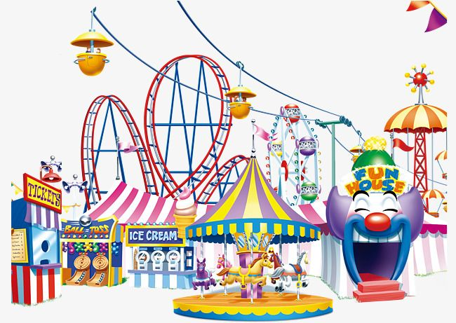Happy Amusement Park Happy Clown Roller Coaster Merry Go Round Png And Psd Amusement Park Amusement Park Games Amusement