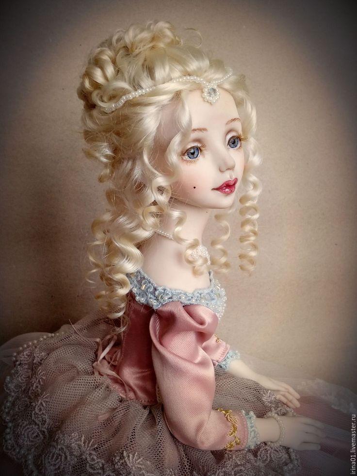 Jointed Collectable Doll / Маркиза... - кремовый, Будуарная кукла, рококо, вышивка, Вышивка бисером, коллекционная кукла, фимо