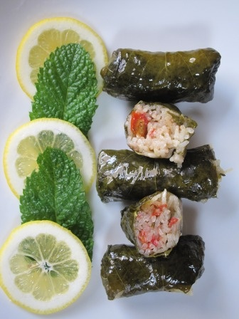 Dolmas (stuffed grape leaves). Wow, gluten free and vegetarian ...