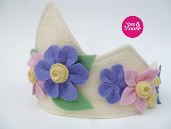 Eco Friendly 100% Wool felt dress up crown for pretend play. Girls felt crown for make believe, Princess dress up and costumes. Easter crown or Spring crown.  A great addition to any Easter basket or other Easter gifts or Spring celebrations. Sustainable toys by Mouse & Moose on Etsy.