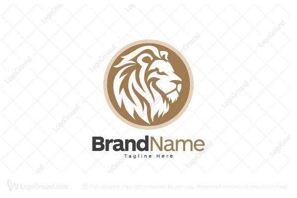 Logo for sale: Brown Lion Head Logo