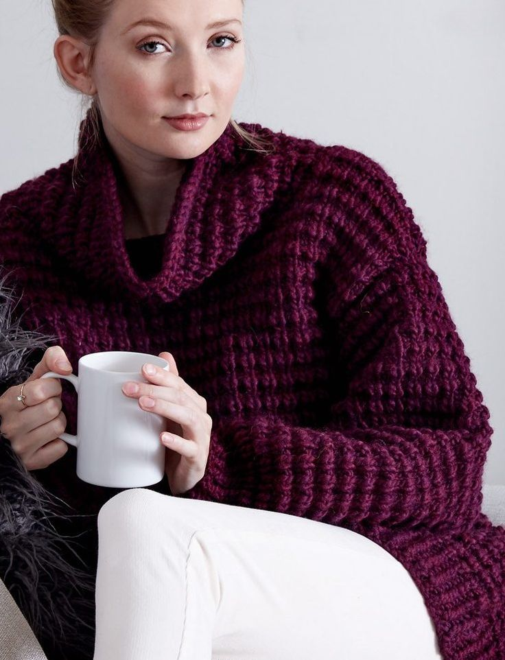 Free Knitting Pattern for Easy 4 Row Repeat Pullover - Easy-Going Knit Pullover  This tunic length long sleeved sweater by Bernat features a 4 row repeat texture and is rated easy by the designer. Quick knit in bulky yarn.