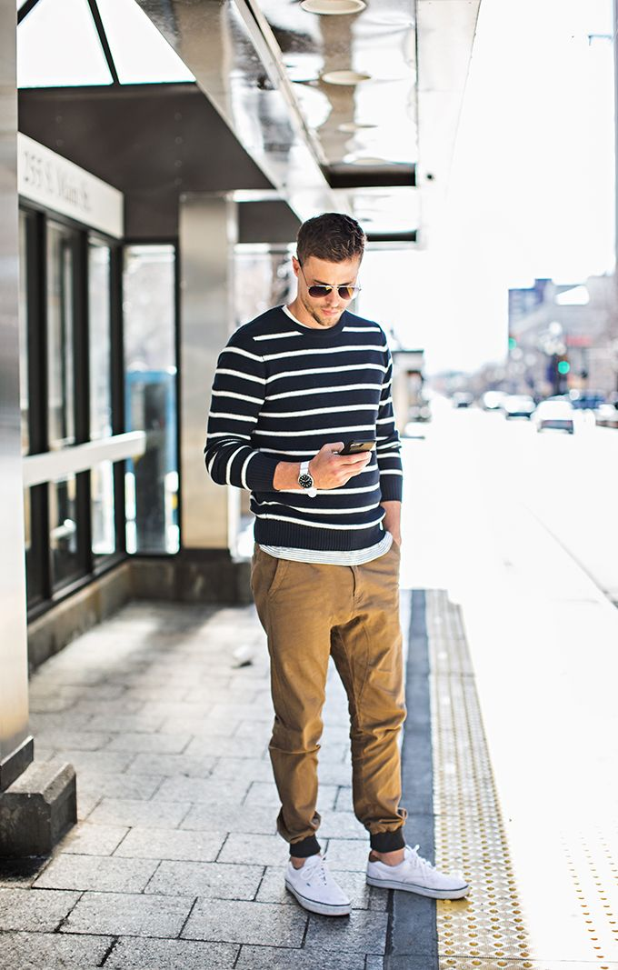 Men's casual: Triped sweater, khaki joggers, white vans