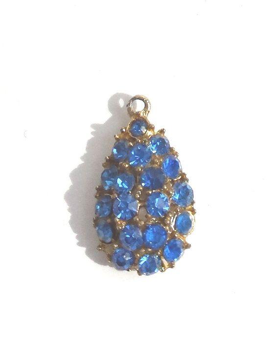 Sapphire Blue Pendant Blue Crystal Pendant by Donellensvintage