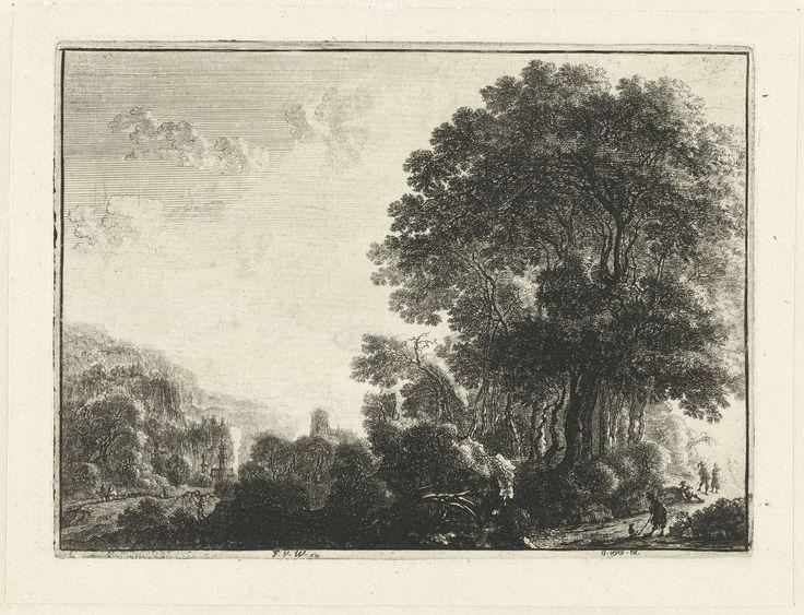 Anonymous | Landschap met een man en zijn hond, Anonymous, Frans van den Wijngaerde, 1643 - 1679 | Bergachtig landschap met op de voorgrond rechts een man en zijn hond. Achter hen zit een fluitspeler; een man en een vrouw luisteren naar zijn spel. Op de achtergrond een kerk.