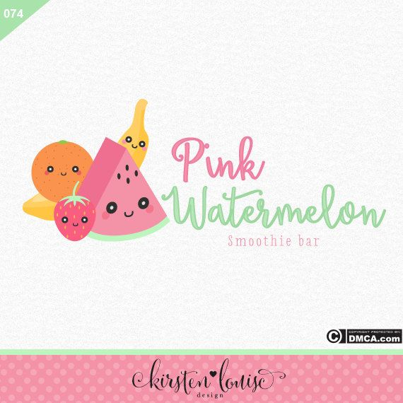 Premade Fruit Logo Smoothie Logo Kawaii by KirstenLouiseDesign
