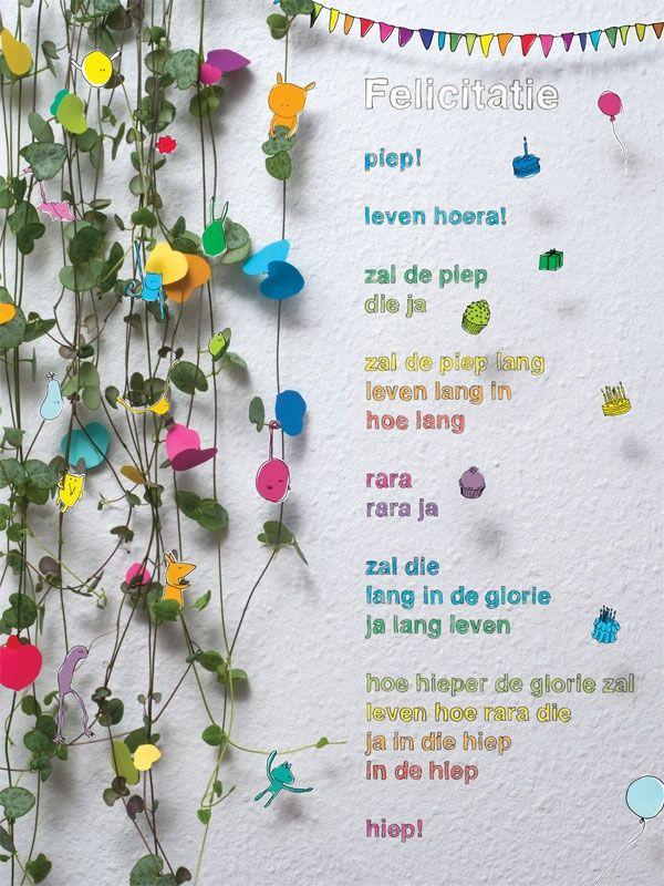 Aan de muur - Poëzieposters - poëzieposter Felicitatie Micha Hamel - Plint