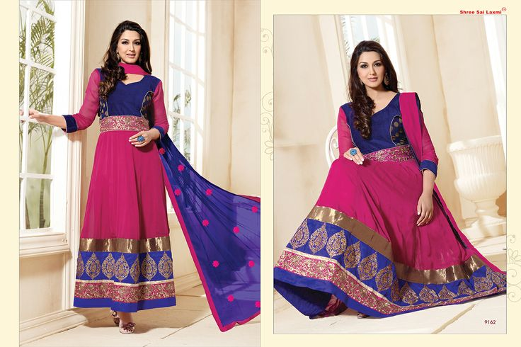 Stunningly Beautiful Magenta and Blue colored Georgette Anarkali with awesome Embroidery work en-crafted. Comes along with Matching Shantoon Bottom and Chiffon Duppatta finely Embroidered.