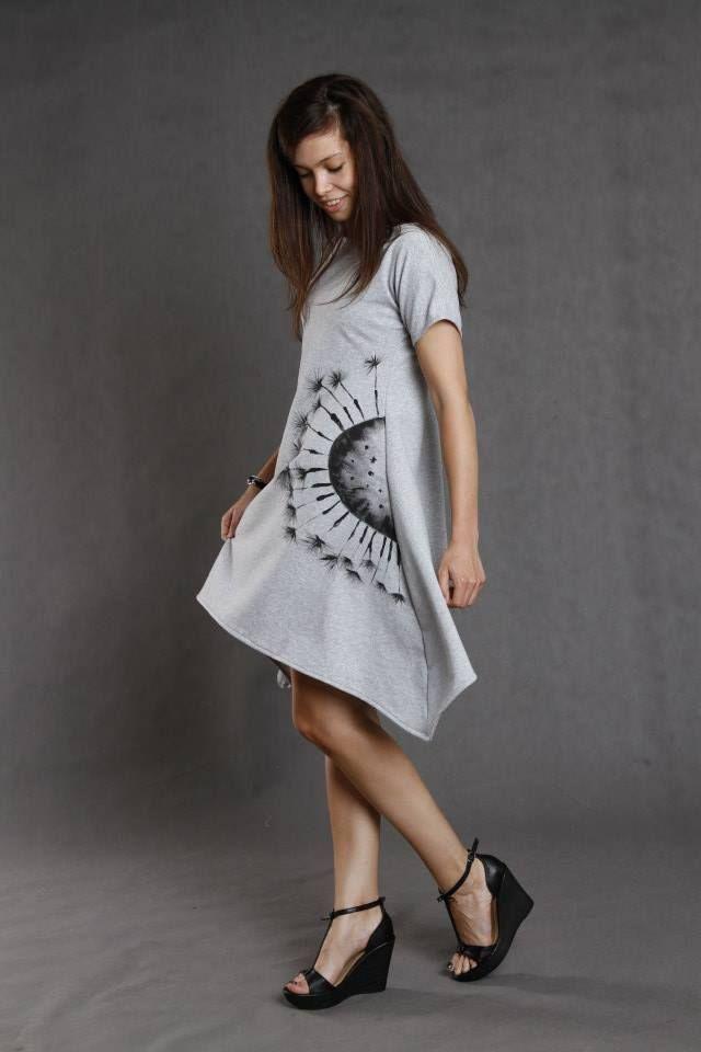 sukienka ręcznie malowana grey dandelion