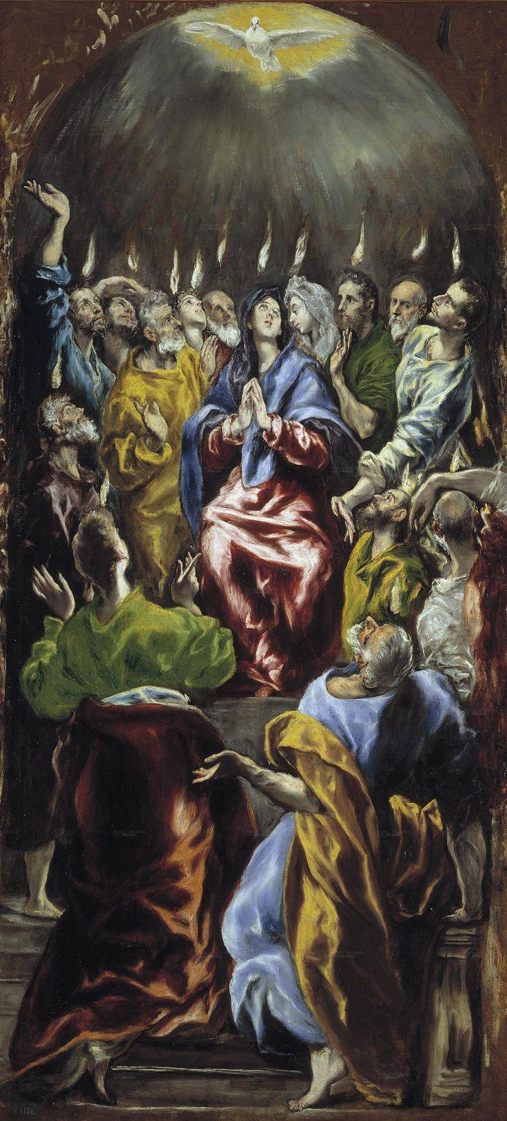 EL GRECO. Pentecostés. 1597. Realizado para el retablo de doña María de Aragón. Prado